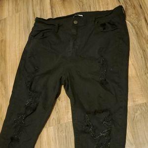 Fashion Nova black distressed pants